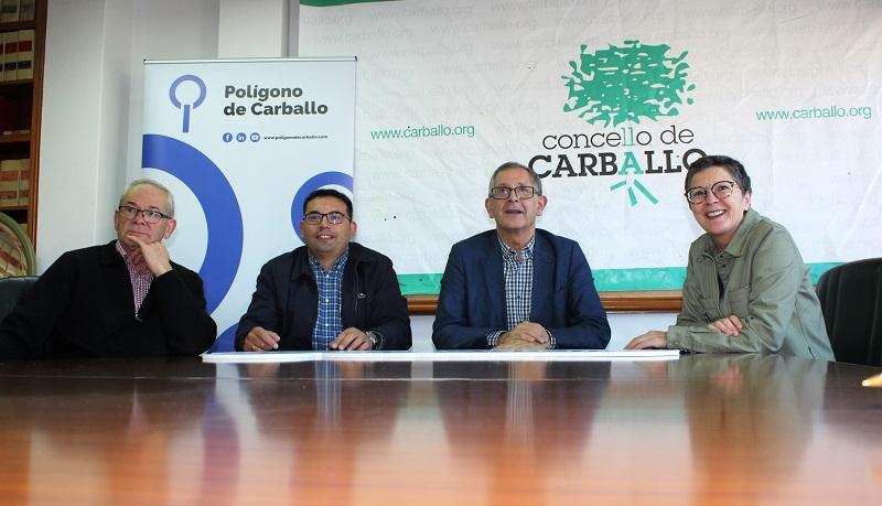 Antonio Gómez, Juan Fernández, Evencio Ferrero e Milagros Lantes, na presentación da nova imaxe do polígono