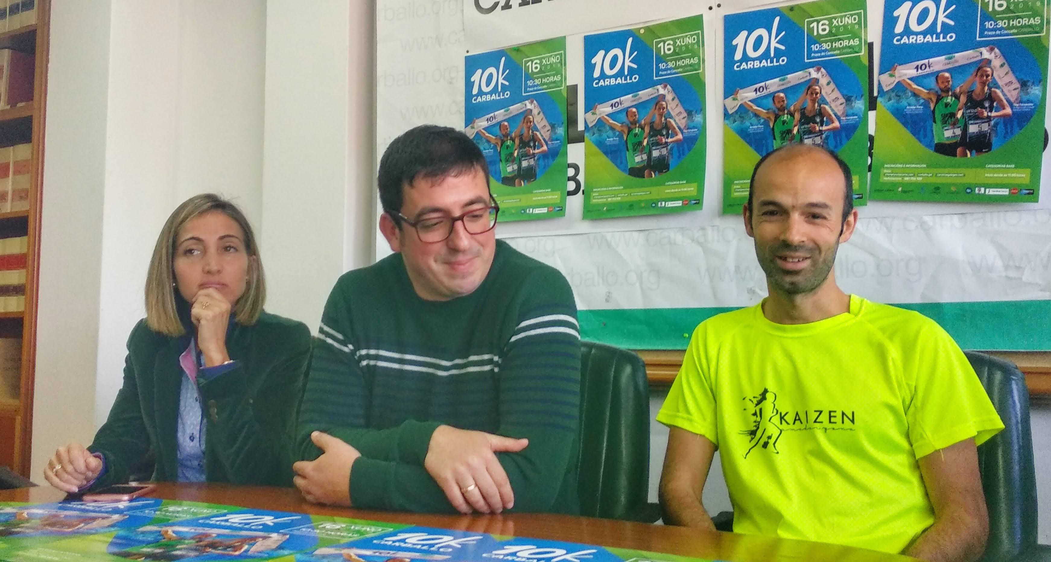 Natalia Rivas, Marcos Trigo e Amador Pena, nun momento da rolda de prensa de presentación da proba
